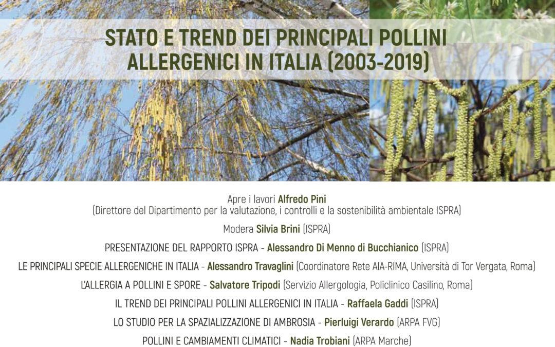 """Webconference """"Stato e trend dei principali pollini allergenici in Italia"""" – Venerdì 26 Febbraio 2021"""